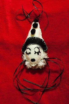 Felted Pierrot Made by Uniquekerer, Goldfishdreams, Handmade, Crafted, Felt, Clown