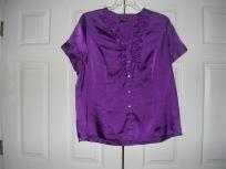 Women: Plus Size 18/20 Royal Purple Ruffle Blouse By Lane Bryant - FREE SHIPPING