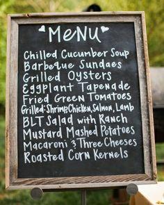 Simple chalkboard menu