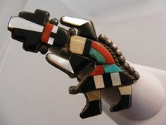 Older Native American Rainbow Man Inlay Ring  Lot 3165