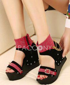 Luxury Diamond Korean Fashion Platform Wedge Shoes With Chain