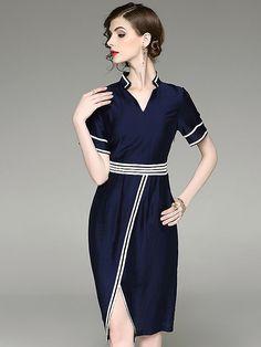 Stylish V-Neck Short Sleeve Hit Color Slim Dress