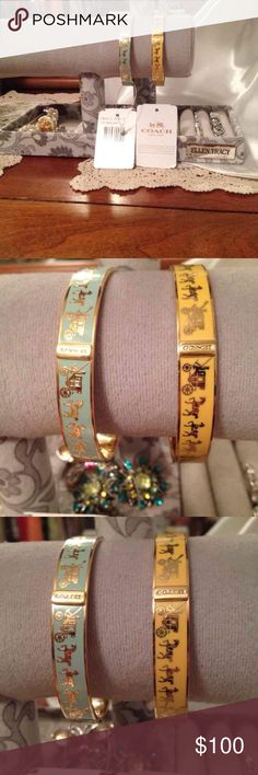 💕Coach Stage Coach Gold Bracelet NWT!💍🎄🎁 Coach Stage Coach Gold Bracelet NWT!  Coach Horse and Carriage Enamel Bangle Bracelet Gold Style F90912 GDCY3.   ⚡️I am sell on this page the Gold only! ⚡️If you want the Blue one please look in my closet, Thank you!:))  I took it out the bag, but it is to small!;((  BrandNew! I sell from a non-smoking home pet free. I ship within 24 to 48 hours Monday through Friday. Do you have any questions please ask! Coach Jewelry Bracelets