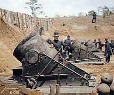 US Civil War 13-inch mortars - ca. May 1862 Yorktown, Virginia. Battery No. 4, 1st Connecticut Heavy Artillery,South end.