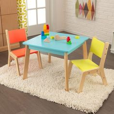 Shop Table and 2 Chair Set by KidKraft. Fun and colorful. Just the right size for growing children. A staple in every young child's bedroom or playroom.