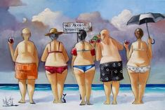 Artwork of Ronald West exhibited at Robertson Art Gallery. Original art of more than 60 top South African Artists - Since Desenho Pop Art, Plus Size Art, Fat Art, South African Artists, Painting People, Fat Women, Naive Art, Beach Scenes, Whimsical Art