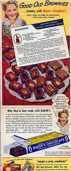 Bakers Chocolate, Chocolate Cookie Recipes, Chocolate Brownies, Brownie Recipes, Retro Recipes, Old Recipes, Vintage Recipes, Cooking Recipes, Vintage Menu