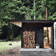 All you need in the woods. Tiny one room cabin nestled in the Gulf Islands, BC. Olson Kundig design shot by Tim Bies. Container Home Designs, Sauna Design, Cabin Design, Design Design, Shipping Container Cabin, Shipping Containers, Cargo Container, Container Store, One Room Cabins