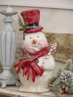 OOAK Sculpted Paper Mache Christmas Winter Snowman Folk Art