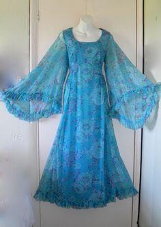 VTG 70s Long Maxi Kimono Angel Sleeve Dress Boho Hippy Folk Wedding Festival 12
