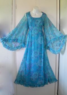 VTG 70s Long Maxi Kimono Angel Sleeve Dress Boho Hippy Folk Wedding Festival 12