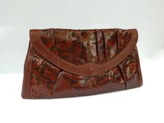 Vintage 1970s brown leather and python over by TheCrownStProject, $65.00