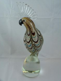 MURANO GLASS COCKATOO BIRD SCULPTURE