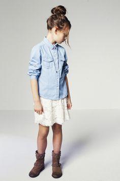 Zara kids - denim, lace, boots, topknot - so cute