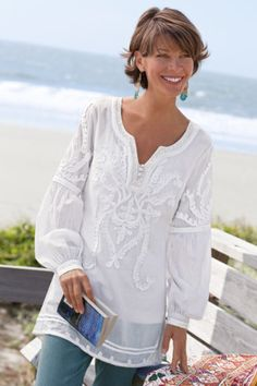 Soft Surroundings' women's tunic tops & sweaters incorporate soft fabrics & global styling to create a fabulous look. Shop our collection of women's tunics! Fashion Over 50, Look Fashion, Dw Shop, Beautiful Outfits, Cool Outfits, Vetements Clothing, Estilo Hippie, White Tunic, White Lace