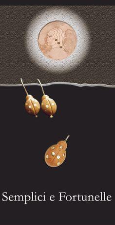 PARURE COCCINELLE  ciondolo e orecchini con la pietra rosa, montature in argento.