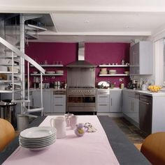 Trending in 7 styles to copy Pink Feature Wall, Feature Walls, Cook Up A Storm, Pink Room, Kitchen Trends, Room Interior, Interior Decorating, Decorating Ideas, Cool Kitchens