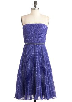 so pretty  Linger a Little Longer Dress in Violet - Mid-length, White, Polka Dots, Belted, Ruching, Daytime Party, Strapless, Purple