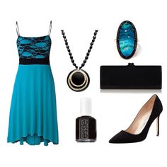 Turquoise Lace Bodice Dress w/ Black Accents