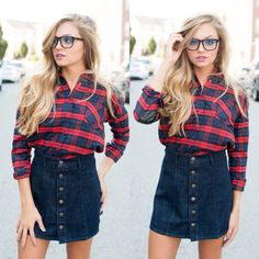 Plaid & denim #swoonboutique