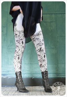 Night Lace Legging  Womens Legging  faux thigh high by Carouselink, $34.00