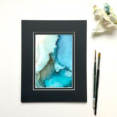 ORIGINAL Abstract Alcohol Ink Painting with Mat color may