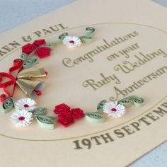 Quilled 40th ruby anniversary card - Folksy