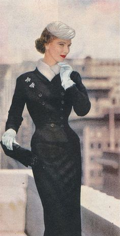 Winter VIntage Fashion - black broadcloth with white mink.