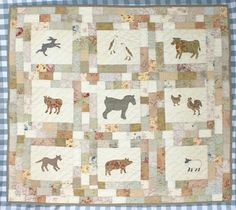 Come to the farm with me Quilt Pattern - A delightful quilt featuring nine favourite farm animal appliqué blocks