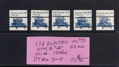 Unique set of 17c Electric Auto Precanceled U.S. Stamps..These have very small Plate numbers on the Bottom of each stamp...  Can you see them??  LOL   Cheers,  Dave Anderson  (dandeonestamps  on eBay)