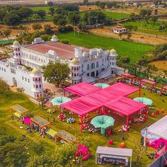Birds eye view of an indian palace wedding, mehendi ceremony set up by the wedding design co - wedding planners