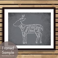 Venison aka Deer Butcher Chart (Exotic Meats Collection) - 8x10 Print (featured in Charcoal) (Buy 3 and get One Free) on Etsy, $14.62 CAD