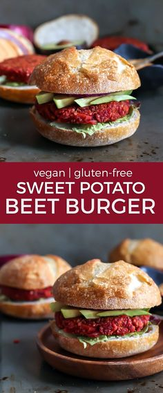 Quinoa Sweet Potato Beet Burgers! They're vegan,gluten-free and made in a blender! Loaded quinoa and oats as well, these beet burgers have a decent amount of plant-based protein too!