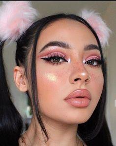Cute Makeup Looks, Makeup Eye Looks, Eye Makeup Steps, Pretty Makeup Looks, Glam Makeup Look, Edgy Makeup, Pink Makeup, Colorful Makeup, Hair Makeup
