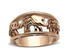 Rose Gold Plated, Bras Ring with Vintage Inspired. Part of our Elephant Jewelry & Fine Jewelry Collections. Yellow stones adorning the embossed elephant symbols.