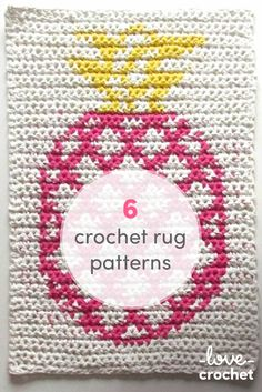 Crochet rugs for every room! Be inspired and crochet a rug for your home! With super chunky yarns, t-shirt yarns and chunky cottons, you'll be hooking a rug in no time at all! Crochet With Cotton Yarn, Love Crochet, Crochet Yarn, Crochet Rug Patterns, Rug Hooking Patterns, Crochet Ideas, Super Chunky Yarn, Pineapple Crochet, Vogue Knitting
