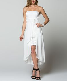 La Scala Off-White Rhinestone Hi-Low Dress | zulily