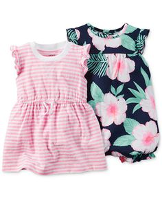Carter's Baby Girls' 2-Pack Striped Dress & Floral-Print Romper Set  FROM MACY'S