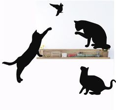 Cat Wall DecalsCat Silhouette Feline Wall Decals Cat by Popitay