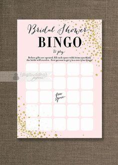 Blush Pink & Gold Glitter Bridal Shower Bingo Cards Modern Glam Bride Wedding Game 4x6 5x7
