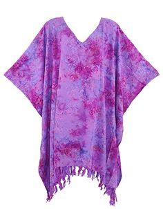 Beautybatik Batik Caftan Kaftan Tunic Top Blouse Plus Size Plus Size Blouses, Kaftan, Tie Dye, Cover Up, Tunic Tops, Purple, Pretty, Stuff To Buy, Dresses