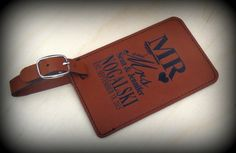 Luggage Tag, Leather, Personalized, Custom, Bride And Groom, Wedding, Groomsmen Gift, Monogram Luggage, Destination, Travel by BPLaserEngraving on Etsy https://www.etsy.com/listing/449072804/luggage-tag-leather-personalized-custom