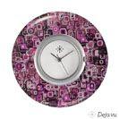 Deja vu Uhr, Schmuckscheiben, Acryl bedruckt, L 186, lila, violett, rosa