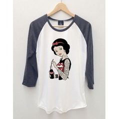 Snow White 2 Tattoo Cartoons Baseball Jersey Long Sleeve 3/4 T Shirt S,M,L