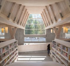 Completed in 2015 in Constitución, Chile. Images by Felipe Díaz Contardo. The Public Library is part of a public-private initiative taken to rebuild the city of Constitución after the degrees earthquake and tsunami that. Library Architecture, Education Architecture, Interior Architecture, Interior Design, Public Library Design, Modern Library, Public Libraries, Central Hall, Central Square