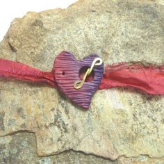 Handmade Heart Toggle Clasp Red Purple by beetreebyme on Etsy, $5.00