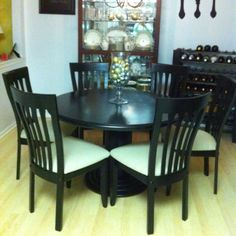 Painted kitchen table and chairs -- use Rustoleum Countertop paint! Recovered the seats beige twill.