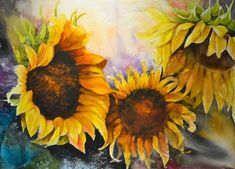 watercolor sunflower | Dreaming sunflower | Watercolor Flowers
