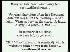 Many we love have passed away to soon without reason