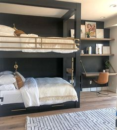 Another little peek of our bunk room. The starts Thursday and we are Come check it out! Also this home… bunk beds Home Bedroom, Bedroom Decor, Bedroom Ideas, Bunk Rooms, Bedrooms, The Design Files, New Room, New Homes, Interior Design